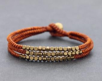 Cube Rusk Brown Beaded Three Strand Bracelet