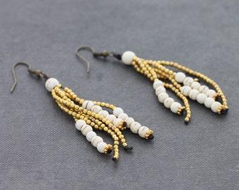 White Turquoise Brass Tassels Earrings