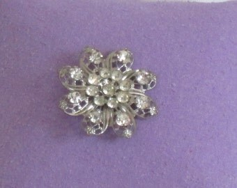 Vintage Rhinestone Brooch - Silver Rhinestone Brooch - Rhinestone Flower
