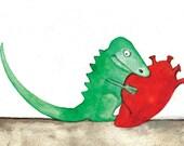 Dragon Holding Heart (Greeting Card)