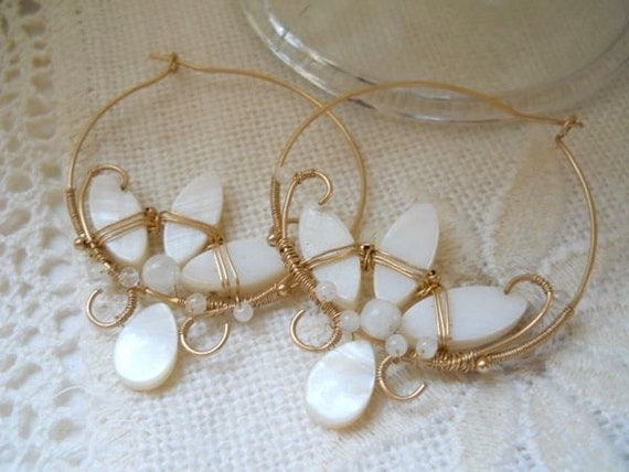 Gold and Mother of Pearl Lotus Blossom Hoops