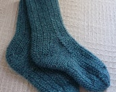 Women's Turquoise Knitted Acrylic Socks