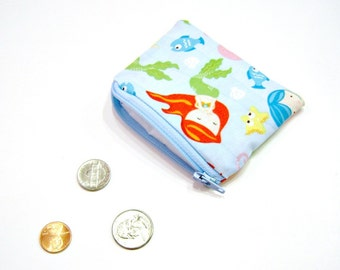 Coin Pouch in Blue Mermaids, Octopus and Fish