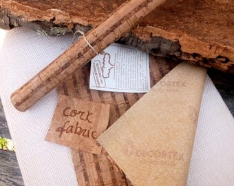 Natural cork sheet, cork leather, vegetable fabric, Eco Friendly Craft Supplies from Portugal - bamboo pattern, 50x50cm 20x20 inches, corcho