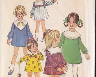 Childs Girls A Line Dress Pattern ~ Simplicity Pattern 8474 Size 5 ~ Detachable Collars ~ Cut Complete