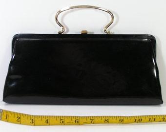 vintage 1950's patent leather purse clutch black handbag glossy brass handle clasp