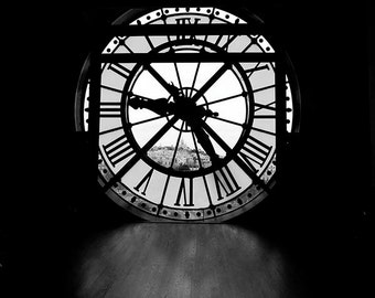 Musee d'Orsay Clock, Paris Bedroom Decor, Black and White, Architecture, Paris Print, Large Wall Art