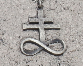 Sterling Silver Brimstone, Leviathan Cross Pendant (Hammered/Large)