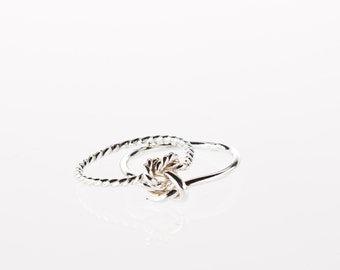 One ring, choose wire thickness, argentium ss, half twist, half plain, double love knot ring, silver 925,