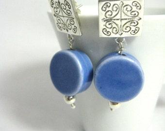 Stud earrings. Blue Ceramic earrings. Short silver earrings. Dangle earrings. Sterling earrings. I N D I G O   T A L A V E R A