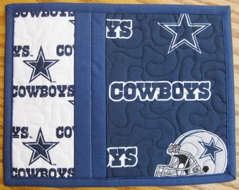 Mug Rug Quilted NFL Dallas Cowboys Handmade Cotton Fabric Patchwork Snack Trivet Gift Idea For Her For Him Friendship Gift 2 Set