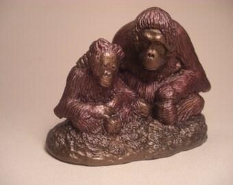 Orangutan mother and baby Princess and Pan Mini sculpture