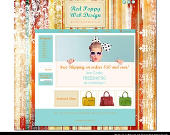 Premade Boutique Website Template, Vintage Stripes, Orange Aqua Web Design, Web Site Template, Vintage Chic!