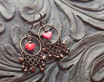 Red Coral Hearts on Brass Earrings -A Gypsy Valentine- Red Coral, Topaz Crystals on Brass Hoops, No. 1