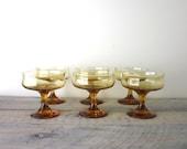 Gold Amber Stemmed Compotes Glasses Set of Six Barware