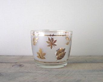 Vintage Libbey Golden Foilage Glass Ice Bucket