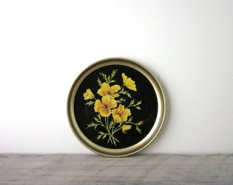 Small Round Kitschy Tin Tray with Yellow Flowers