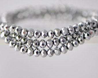 Crystal Glass Rondelle Faceted beads 2x3mm Silver -BZ0330/ 145pcs