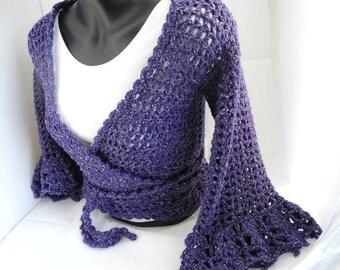 Purple Tweed Shrug