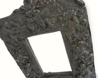 Cherub Angels High Relief Cast Plaster Wall Mirror Gargoyles Studio New York Dark Brown/ Vintage Home Decor