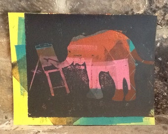 Abstract Elephant Linocut Mono Print 8.5x11 Inches