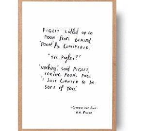 Winnie the Pooh  book quote - hand written, hand drawn - original art (not print) A A Milne
