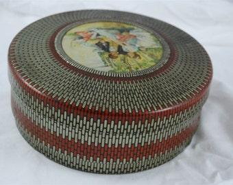 Vintage Tin Metal Round Sewing or Trinket Box 1940's