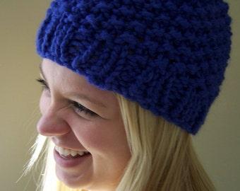Knit Hat Cobalt Blue, Chunky Knit Beanie Hat, Knit Winter Hat in Blue, Winter Trends, Big Knit Blue Hat,  Knit Blue Toque, Knit Winter Hat