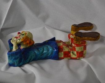 Special Sale Price  Vintage  Alverez Meifiso Paper Mache Clown  The Thinker