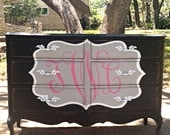 "French Provincial 6-drawer dresser transformed to a ""Classy Monogrammed"" dresser."
