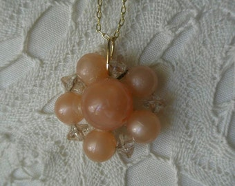 Vintage Pink Plastic Bead Flower and Crystal Pendant Necklace