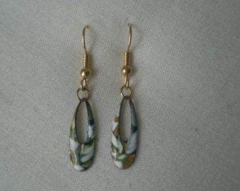 Vintage Enamel on Copper Elongated Loop Drop Dangle Earrings