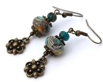 Turquoise and Yellow Earrings, Lampwork Glass
