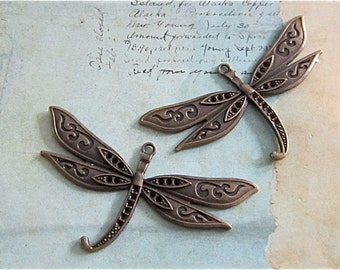 Dragonfly Charm - Large - Antique bronze - Jewelry finding  (LABDC)