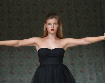 Black Strapless tea length party dress / Short black tulle dress - Made to order