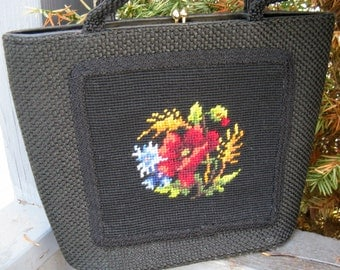 Vintage 60s JR Miami Embroidered Black Purse with Bright Flowers