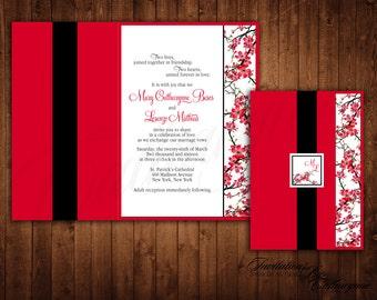 Cherry Blossom Wedding Invitations, Asian Invitations, Fall Wedding Invitations, Cherry Blossom Wedding, Red Black Invitations