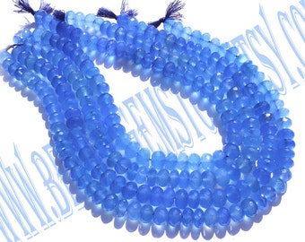 Blue Chalcedony Faceted Roundel (Quality AAA) / 36 cm / 55 to 57 Grms. / 10 to 11 mm / BOG - 028