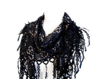 Black Scarf - Chiffon scarf - Cowl with Lace Edge - asuhan