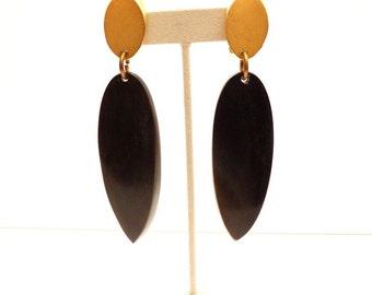 Vintage Designer Dangling Black Resin Earrings 4.5 Inch Statement Earrings Modernist African Inspired