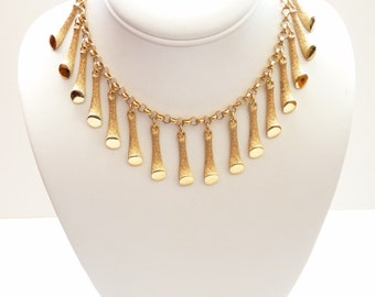 Napier  Gold Necklace 1973 Napier is Sultrier Series Modernist Choker