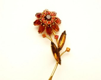 Vintage Designer Juliana Flower Pin with Topaz and Orange Rhinestones - 3 Inches c. 1960s