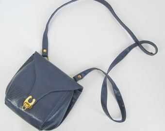 Adorable 1980s Small Blue Ande Crossbody Sling Purse