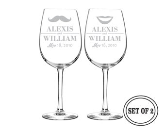 2 PERSONALIZED Wine Glasses Wedding Gift - (PAIR) Custom Engraved Wine Glasses Drinking Glasses Toasting Glasses Cocktail Glass