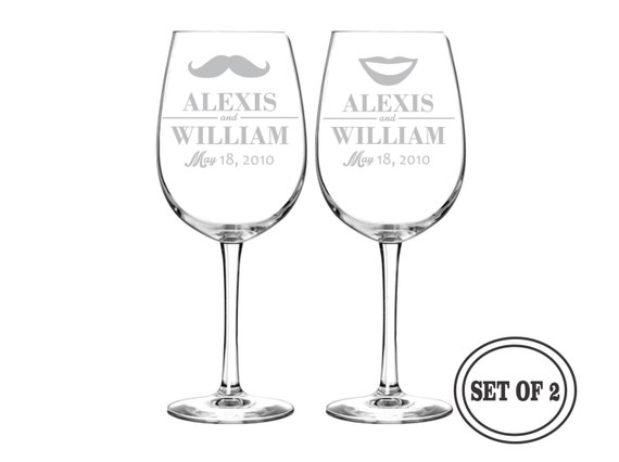 Engraved Wine Glasses For Wedding Gift : PERSONALIZED Wine Glasses Wedding Gift - (PAIR) Custom Engraved Wine ...