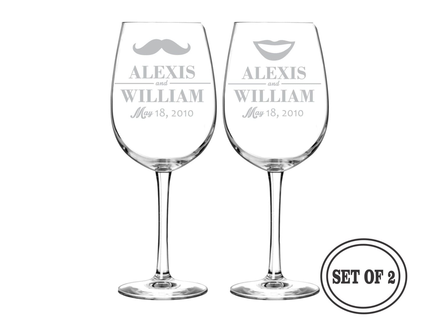 Personalized Wine Glasses For Wedding Gift : PERSONALIZED Wine Glasses Wedding Gift PAIR Custom