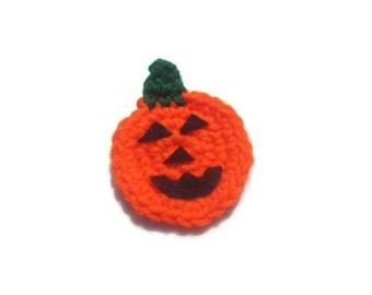 Jack O Lantern Pumpkin Pin, Crochet Orange Pumpkin Pin, Decoration for Halloween, Party Favors, Classroom Treats, Present for Teacher