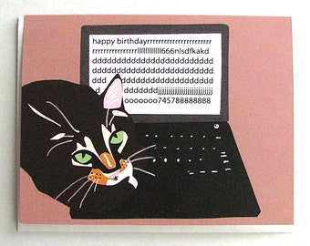 Cat on Keyboard Birthday Card