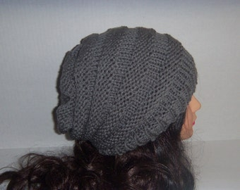 Pewter Grey Knit Slouchy Accordian Beehive Hat, Knit Hat
