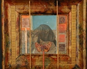 Measuring Time mixed media original assemblage art by Leslee Lukosh of Foundturtle in Portland Oregon